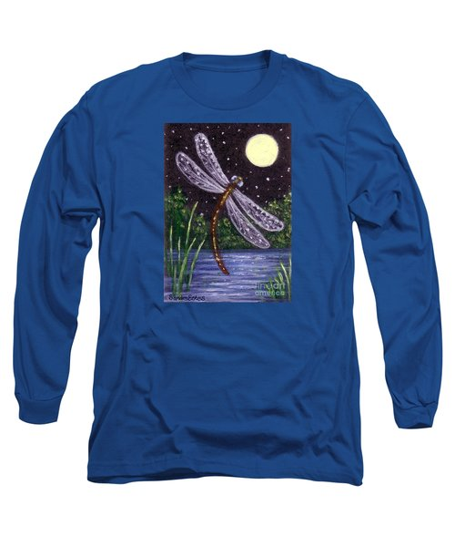 Long Sleeve T-Shirt featuring the painting Dragonfly Dreaming by Sandra Estes