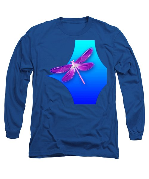Dragonfly Pink On Blue Long Sleeve T-Shirt