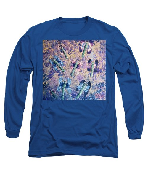 Long Sleeve T-Shirt featuring the painting Dragons In Indigo And Lavender by Megan Walsh