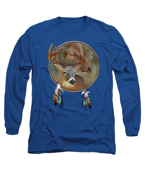 Dream Catcher - Spirit Of The Deer Long Sleeve T-Shirt by Carol Cavalaris