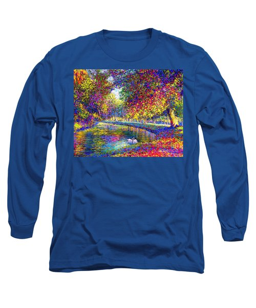 Long Sleeve T-Shirt featuring the painting Drifting Beauties, Swans, Colorful Modern Impressionism by Jane Small