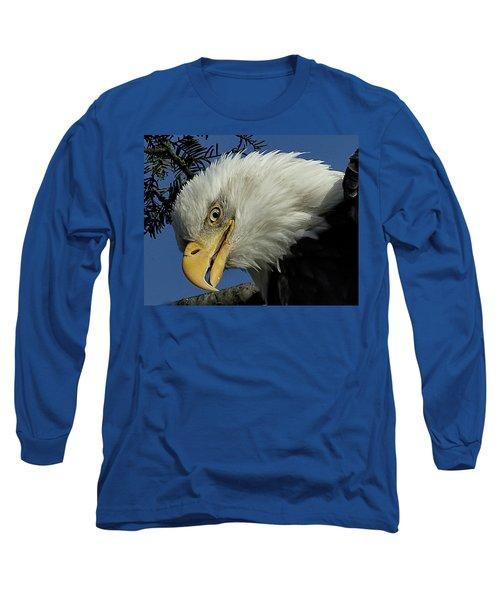 Eagle Head Long Sleeve T-Shirt by Sheldon Bilsker