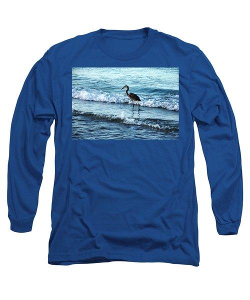 Early Morning Heron Beach Walk Long Sleeve T-Shirt