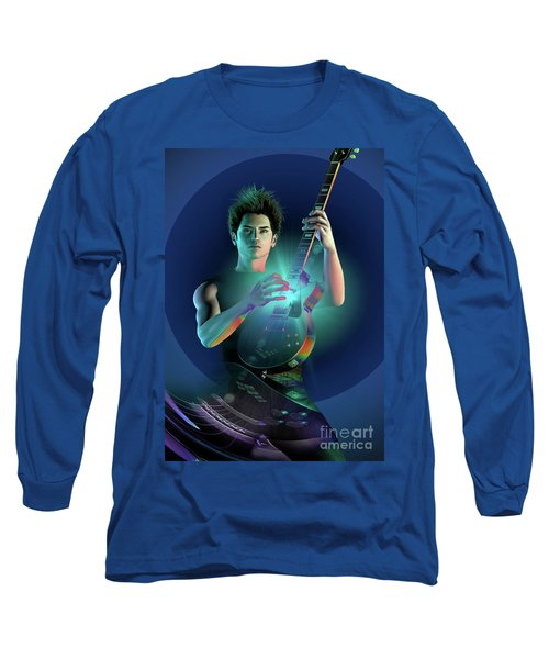Long Sleeve T-Shirt featuring the digital art Electric Blue by Shadowlea Is