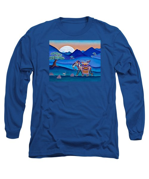 Elephant And Monkey Stroll Long Sleeve T-Shirt by Lori Miller