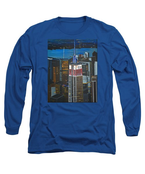 Long Sleeve T-Shirt featuring the painting Empire State by Donna Blossom