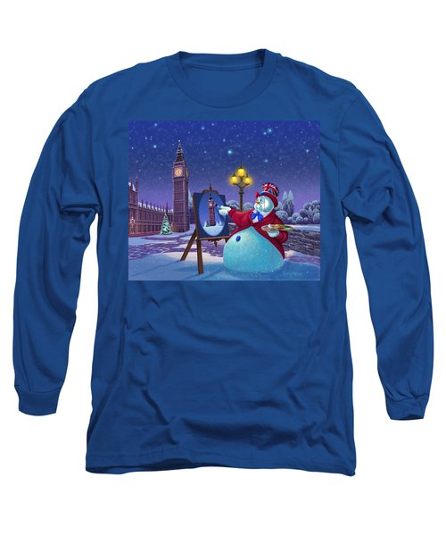 Long Sleeve T-Shirt featuring the painting English Snowman by Michael Humphries