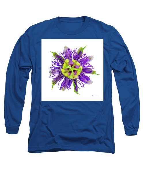 Expressive Yellow Green And Violet Passion Flower 50674a Long Sleeve T-Shirt
