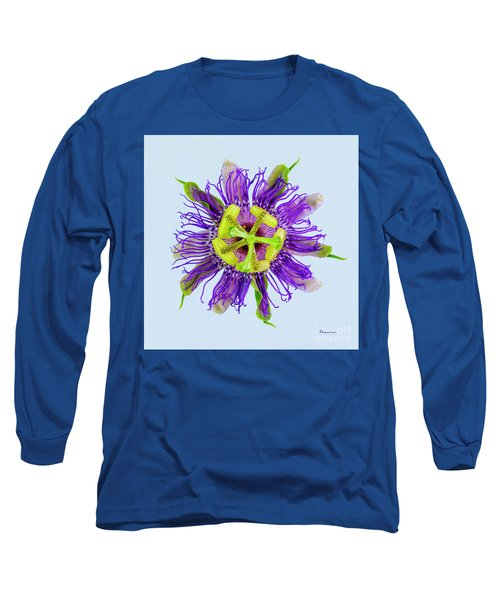 Expressive Yellow Green And Violet Passion Flower 50674b Long Sleeve T-Shirt
