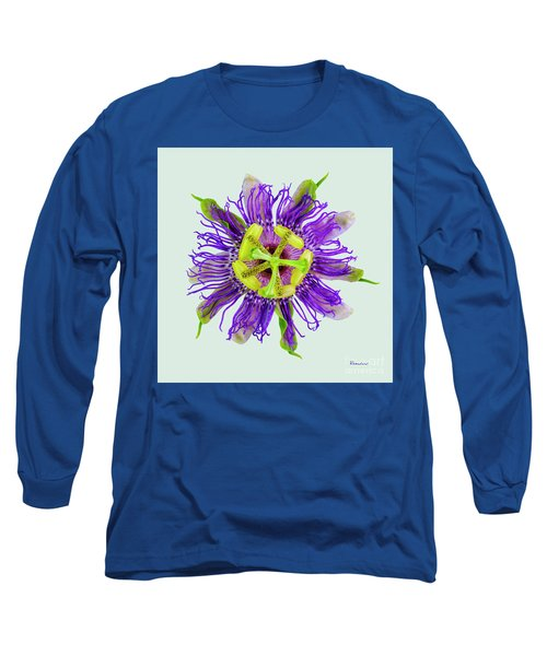 Expressive Yellow Green And Violet Passion Flower 50674l Long Sleeve T-Shirt