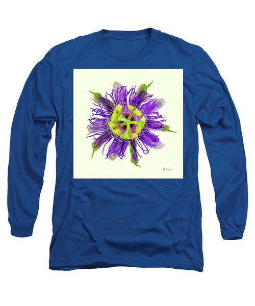 Expressive Yellow Green And Violet Passion Flower 50674y Long Sleeve T-Shirt