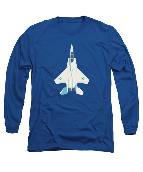F15 Eagle Us Air Force Fighter Jet Aircraft - Blue Long Sleeve T-Shirt