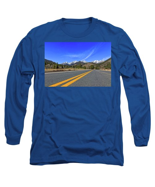 Fall River Road With Mountain Background Long Sleeve T-Shirt by Peter Ciro