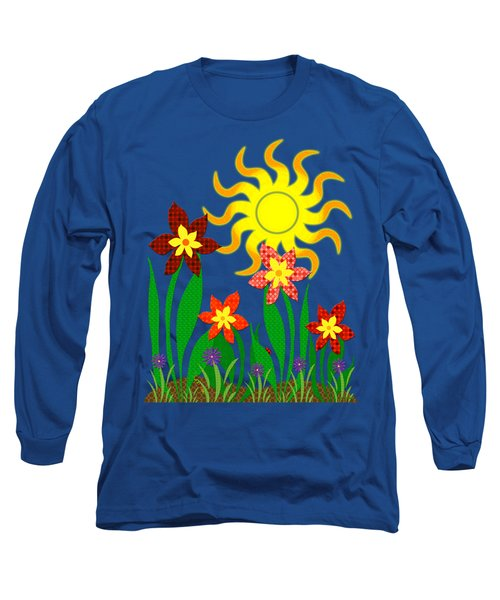 Long Sleeve T-Shirt featuring the digital art Fanciful Flowers by Shawna Rowe