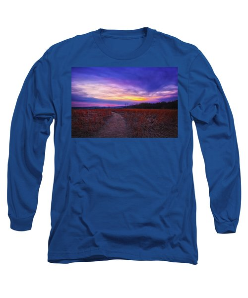 February Sunset And Path At Retzer Nature Center Long Sleeve T-Shirt by Jennifer Rondinelli Reilly - Fine Art Photography