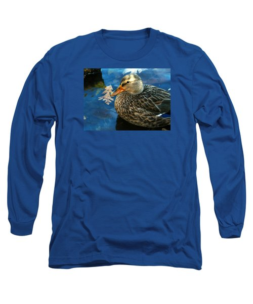 Female Mallard Duck In The Fox River Long Sleeve T-Shirt