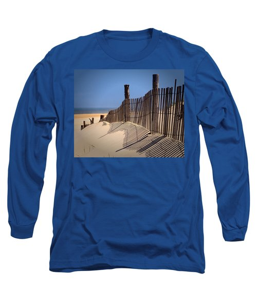 Fenwick Dune Fence And Shadows Long Sleeve T-Shirt