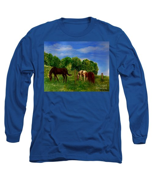 Field Of Horses' Dreams Long Sleeve T-Shirt by Kimberlee Baxter