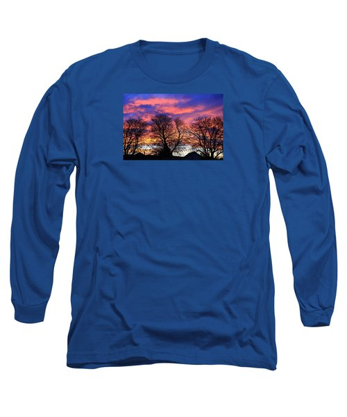 Long Sleeve T-Shirt featuring the painting Filigree Sunset by Nareeta Martin