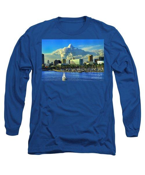 Long Sleeve T-Shirt featuring the photograph Fire Cloud Over Long Beach by Mariola Bitner