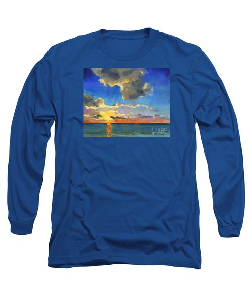 Long Sleeve T-Shirt featuring the painting First Light by Nancy  Parsons