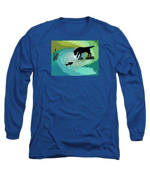 Fishing Labrador Dog Long Sleeve T-Shirt