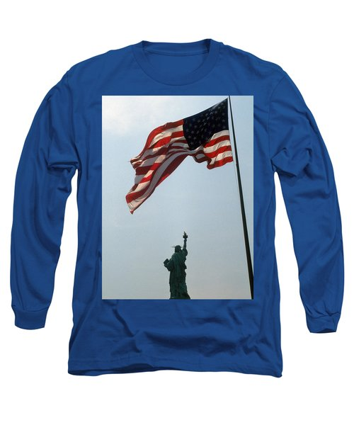 Flag And Statue Of Liberty Long Sleeve T-Shirt by Carl Purcell