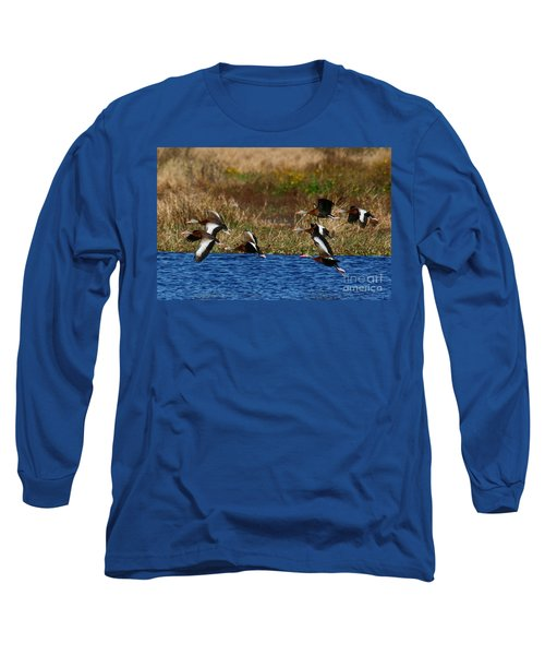 Flight Of The Whistlers Long Sleeve T-Shirt by Myrna Bradshaw
