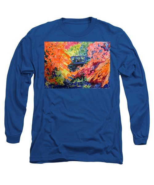 Floral View Of The Bridge Long Sleeve T-Shirt by Esther Newman-Cohen