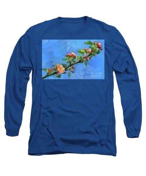Flowering Apple Branch Long Sleeve T-Shirt by Dragica Micki Fortuna