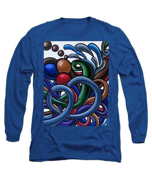 Colorful Abstract Art Painting Chromatic Water Artwork Long Sleeve T-Shirt