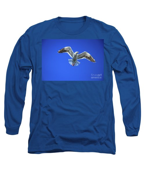 Long Sleeve T-Shirt featuring the photograph Flying Gull by Robert Bales