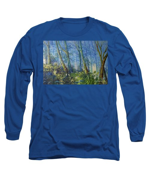 Follow Me Oil Painting Of A Magic Forest Long Sleeve T-Shirt by Maja Sokolowska