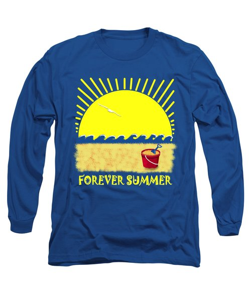 Long Sleeve T-Shirt featuring the digital art Forever Summer 8 by Linda Lees