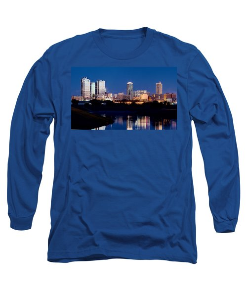 Fort Worth Skyline At Night Poster Long Sleeve T-Shirt