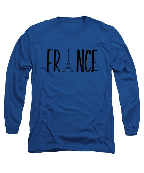France Typography Long Sleeve T-Shirt by Melanie Viola