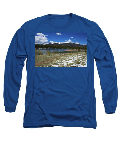 Fresh Snow Along The Banks Of Crystal Creek Reservoir With Pikes Long Sleeve T-Shirt