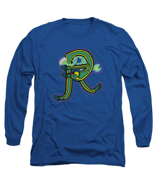 Frog Letter R Blue Long Sleeve T-Shirt