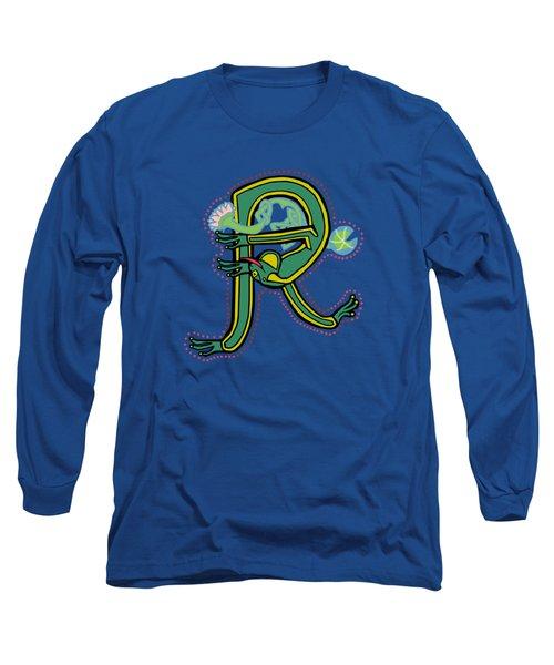 Frog Letter R Blue Long Sleeve T-Shirt