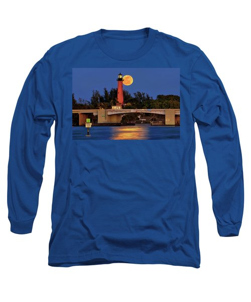 Full Moon Over Jupiter Lighthouse, Florida Long Sleeve T-Shirt
