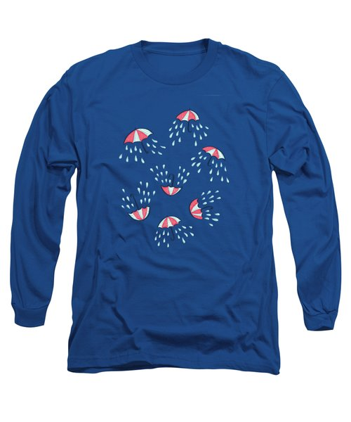 Fun Raining Umbrella Pattern Long Sleeve T-Shirt