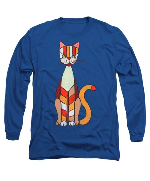 Long Sleeve T-Shirt featuring the painting Funny Cat by Jutta Maria Pusl