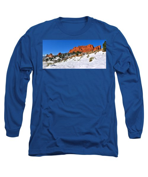 Long Sleeve T-Shirt featuring the photograph Garden Of The Gods Red And White by Adam Jewell
