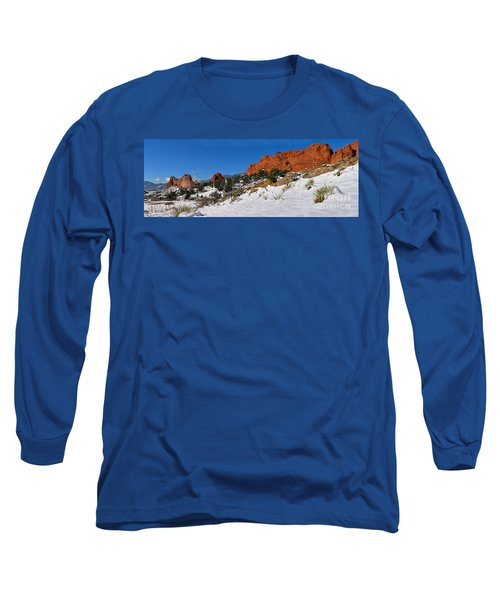 Long Sleeve T-Shirt featuring the photograph Garden Of The Gods Snowy Blue Sky Panorama by Adam Jewell