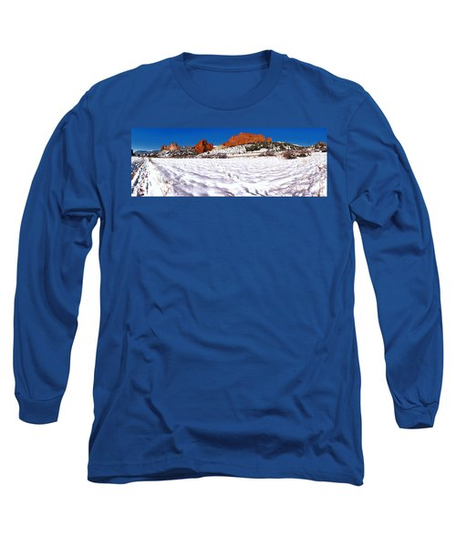 Long Sleeve T-Shirt featuring the photograph Garden Of The Gods Snowy Morning Panorama by Adam Jewell