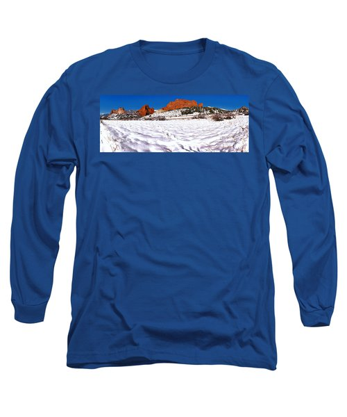 Long Sleeve T-Shirt featuring the photograph Garden Of The Gods Snowy Morning Panorama Crop by Adam Jewell