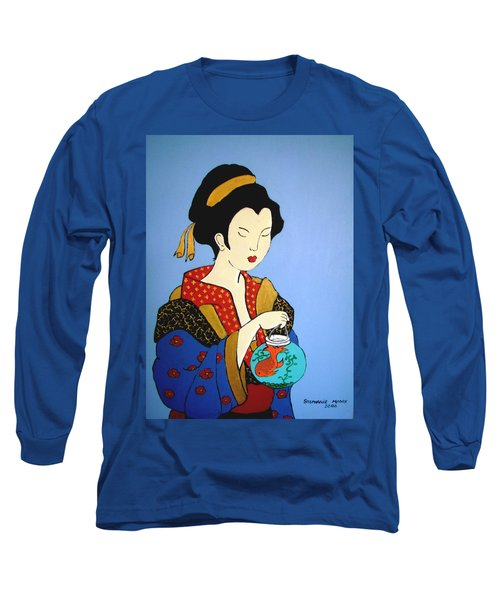 Long Sleeve T-Shirt featuring the painting Geisha With Fish by Stephanie Moore