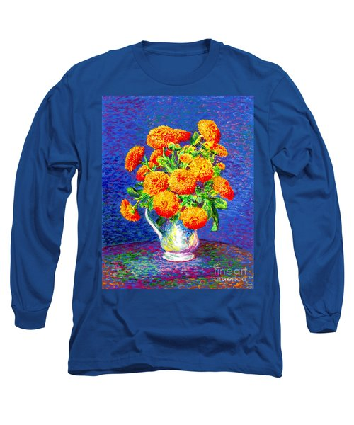 Long Sleeve T-Shirt featuring the painting Gift Of Gold, Orange Flowers by Jane Small