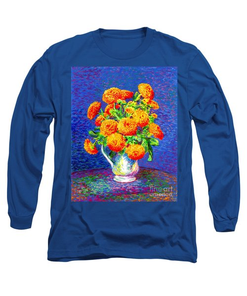 Gift Of Gold, Orange Flowers Long Sleeve T-Shirt