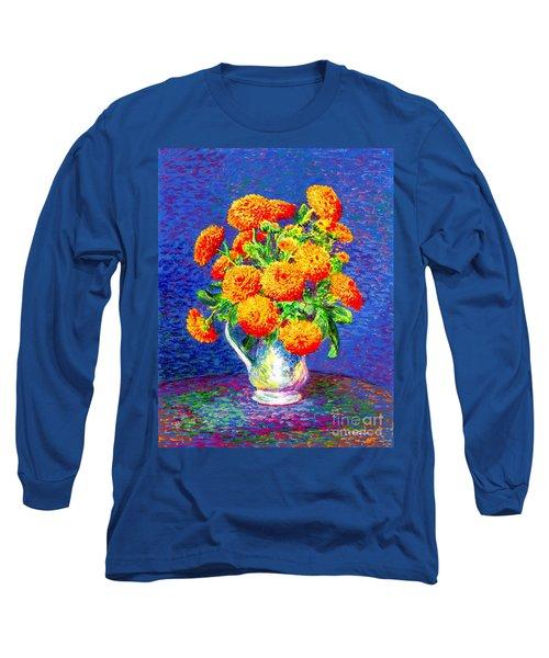Gift Of Gold, Orange Flowers Long Sleeve T-Shirt
